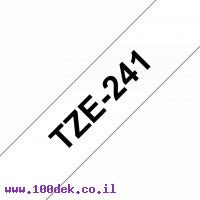 """סרט סימון ברוחב 18 מ""""מ Brother TZE-241 - שחור על רקע לבן"""