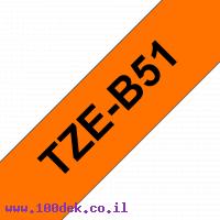 """סרט סימון ברוחב 24 מ""""מ Brother TZE-B51 - שחור על רקע כתום זוהר"""