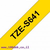 """סרט סימון ברוחב 18 מ""""מ Brother TZE-S641 - שחור על רקע צהוב"""