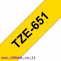 """סרט סימון ברוחב 24 מ""""מ Brother TZE-651 - שחור על רקע צהוב"""