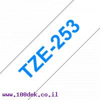 """סרט סימון ברוחב 24 מ""""מ Brother TZE-253 - כחול על רקע לבן"""