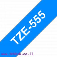 """סרט סימון ברוחב 24 מ""""מ Brother TZE-555 - לבן על רקע כחול"""