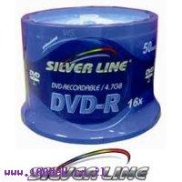דיסק לצריבה DVD-R 4.7 GB X16 של SilverLine מארז של 50 יחידות