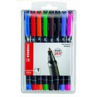 טוש לא מחיק לשקפים STABILO 842/8 F -חבילה של 8 צבעים