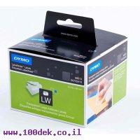 """גליל מדבקות פלסטיק (שקוף חלבי) Dymo LW 99013 גודל 89x36 מ""""מ - 260 מדבקות עם דבק רגיל"""