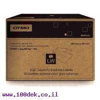 """גליל מדבקות נייר Dymo LW 947410 גודל 28x89 מ""""מ - 2100 מדבקות עם דבק רגיל"""