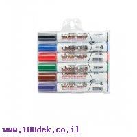 טוש מחיק LinePlus - ערכה של 6 צבעים ראש שטוח