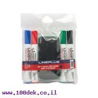 טוש מחיק LinePlus - ערכה של 4 צבעים ראש שטוח + ספוג