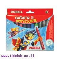 טוש עבה צבעוני 12 יחידות DOBELL