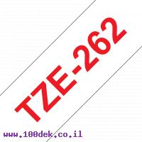 """סרט סימון ברוחב 36 מ""""מ Brother TZE-262 - אדום על רקע לבן"""