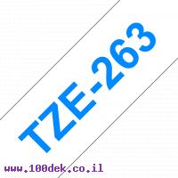 """סרט סימון ברוחב 36 מ""""מ Brother TZE-263 - כחול על רקע לבן"""
