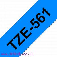 """סרט סימון ברוחב 36 מ""""מ Brother TZE-561 - שחור על רקע כחול"""
