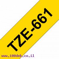 """סרט סימון ברוחב 36 מ""""מ Brother TZE-661 - שחור על רקע צהוב"""