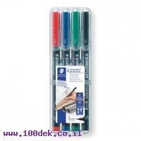 """טוש לא מחיק STAEDTLER Lumocolor (S) 313 - עובי 0.4 מ""""מ - ערכה של 4 צבעים"""