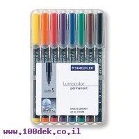"""טוש לא מחיק STAEDTLER Lumocolor (S) 313 - עובי 0.4 מ""""מ - ערכה של 8 צבעים"""
