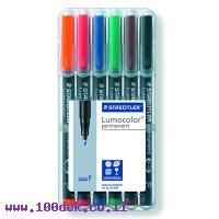 """טוש לא מחיק STAEDTLER Lumocolor (F) 318 - עובי 0.6 מ""""מ - ערכה של 6 צבעים"""
