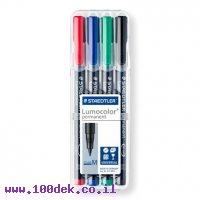 """טוש לא מחיק STAEDTLER Lumocolor (M) 317 - עובי 1 מ""""מ - ערכה של 4 צבעים"""