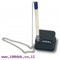 עט דלפק עם שרשרת מתכת - כחול